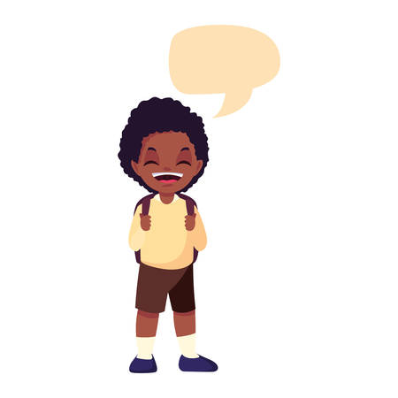 school boy with bag talk bubble white background vector illustration