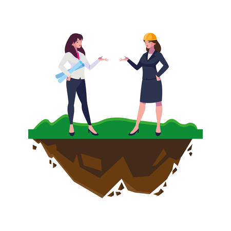 female engineers workers characters on the lawn vector illustration design 일러스트