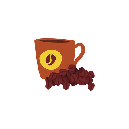 cup with coffee beans on white background vector illustration design Imagens - 133990029