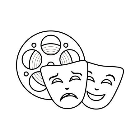 cinema reel tape with theater masks vector illustration design