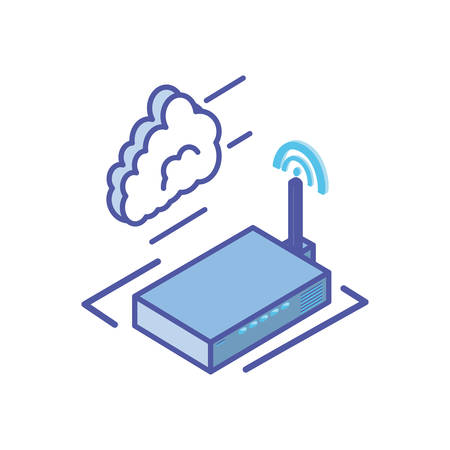 wireless router with cloud information vector illustration design