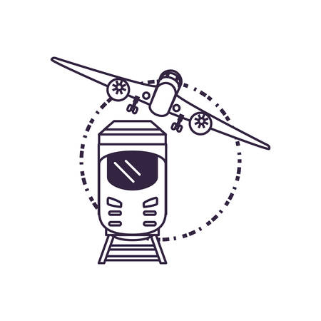 train travel vehicle with airplane vector illustration design