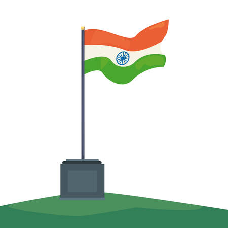 flag in pole symbol indian happy independence day vector illustration Ilustracja