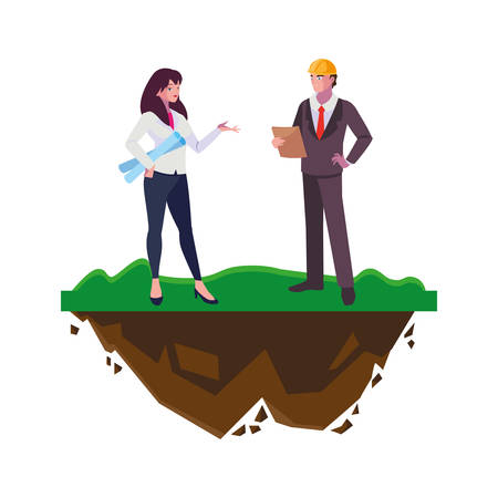 couple of engineers builders workers on the lawn vector illustration design Ilustracja