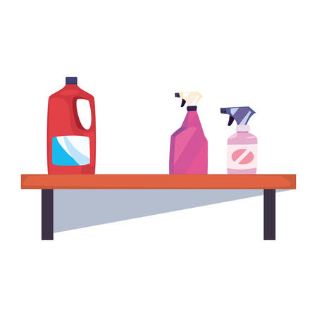 shelf with cleaning supplies and bottle spray on white background