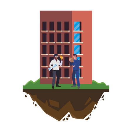 afro male builder with engineer and building vector illustration design Illusztráció
