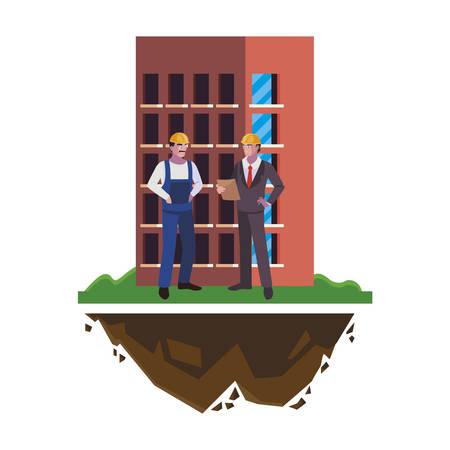 builder constructor with engineer and building vector illustration design Illusztráció