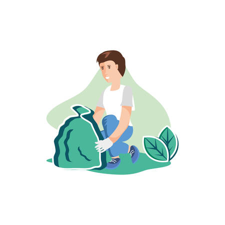 Avatar man with trash design, Garbage recycle ecology eco save and environment theme Vector illustration Banque d'images - 133846270
