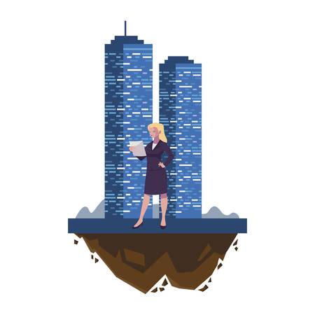 elegante Geschäftsfrau mit Gebäudecharaktervektor-Illustrationsdesign