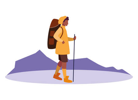traveler man with backpack vacations vector illustration Ilustrace