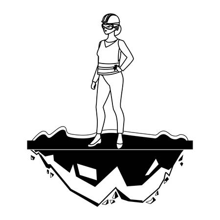 female builder construction on the lawn vector illustration design Vettoriali