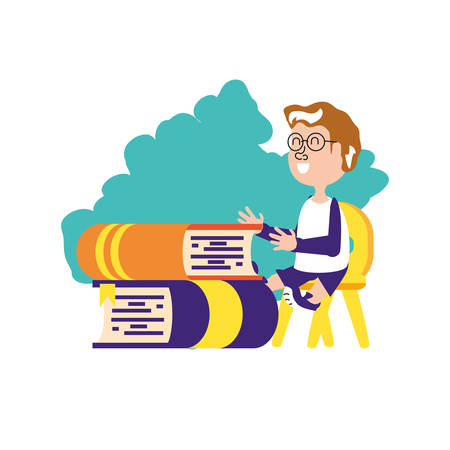 student boy sitting in chair with stack books vector illustration design