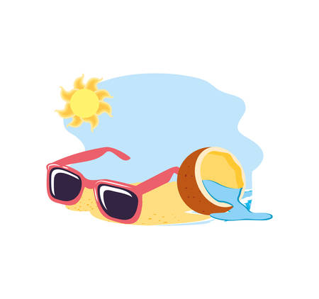 summer sunglasses in the beach with coconut fruit vector illustration design 일러스트
