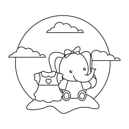cute little elephant baby with dress girl in landscape vector illustration design 向量圖像