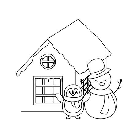 penguin and snowman with scarf on white background on white background