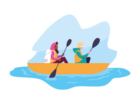young couple in canoe sport extreme vector illustration design Stock Illustratie