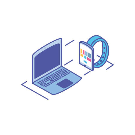 open laptop with smart watch on white background vector illustration design