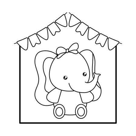 cute little elephant baby with garlands hanging vector illustration design