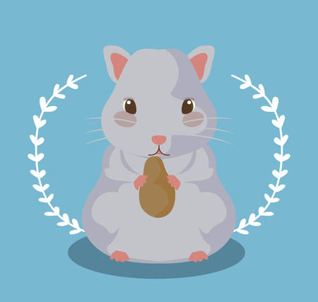 cute mouse animal baby with food vector illustration design