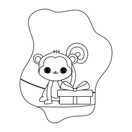 cute monkey animal with gift box vector illustration design