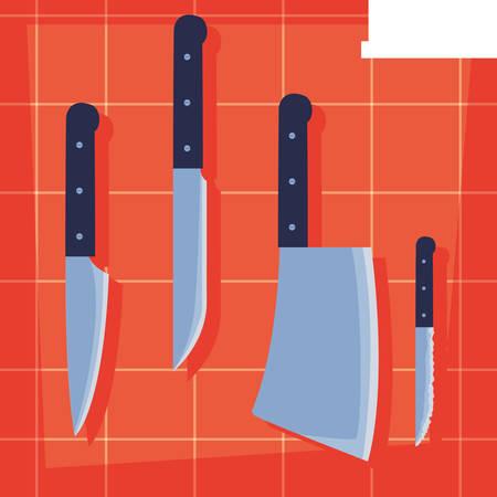 set of kitchen knifes hanging vector illustration design