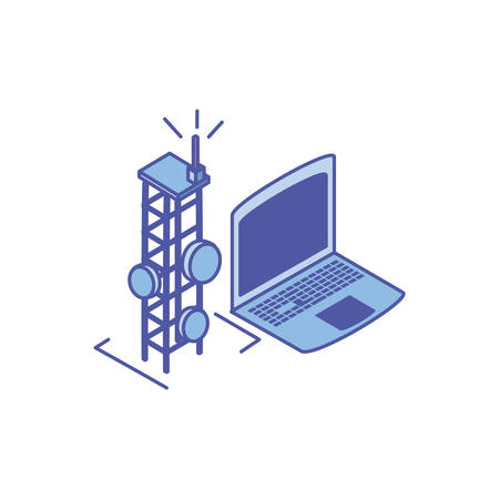 open laptop with telecommunications tower vector illustration design