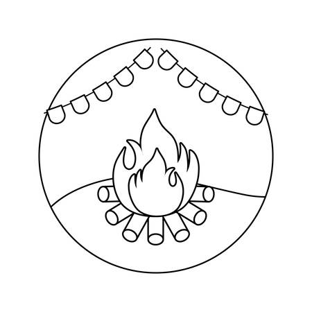 campfire flame with garlands in frame circular vector illustration design
