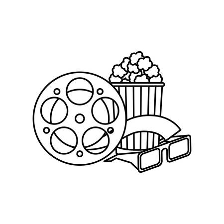 cinema reel tape with glasses 3d and popcorn vector illustration design