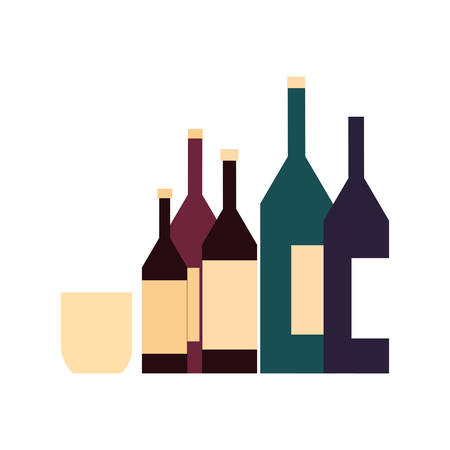 wine bottles with glass in white background vector illustration design