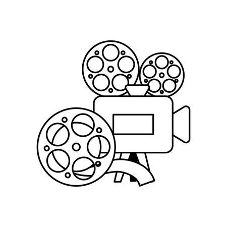 cinema video camera with tape reel vector illustration design