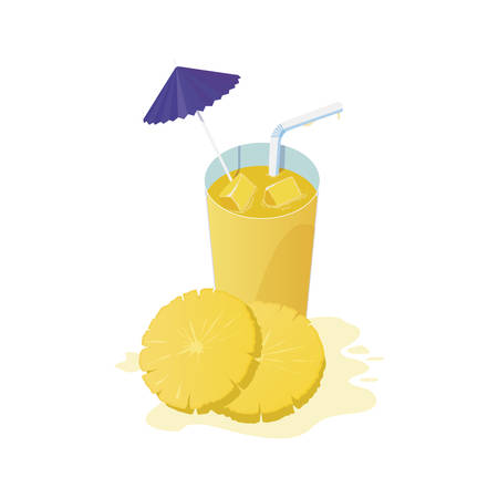 fresh pineapple juice fruit cocktail vector illustration design