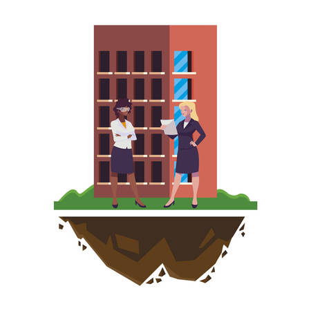 female builder and engineer with building vector illustration design