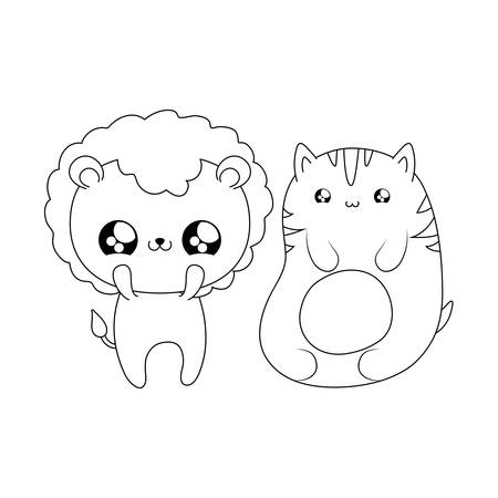 cute lion with cat baby animals kawaii style vector illustration design