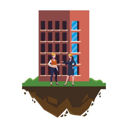 costruttore femminile e ingegnere con disegno di illustrazione vettoriale di costruzione Vettoriali