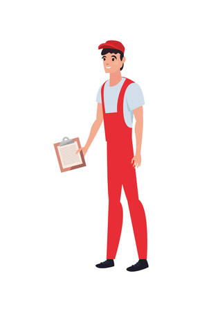 man with clipboard fast delivery logistic vector illustration Ilustracja