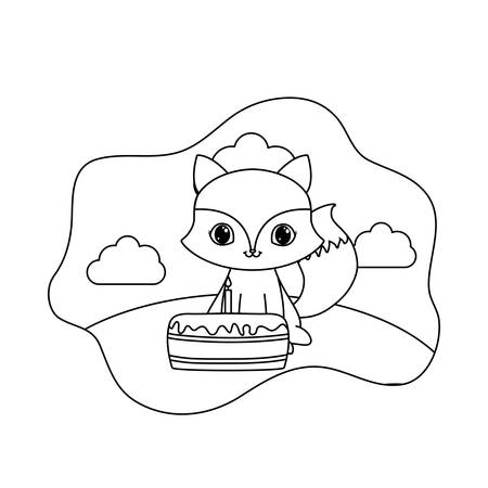 cute fox animal with cake of birthday vector illustration design