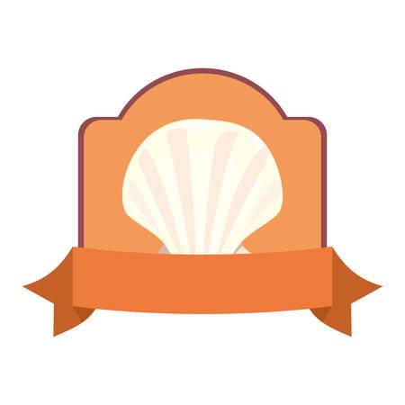 seashell wildlife vacations tropical summer emblem vector illustration