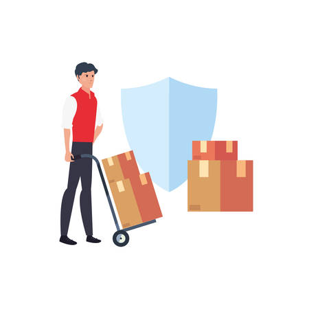 man with handcart boxes shield fast delivery logistic vector illustration 일러스트