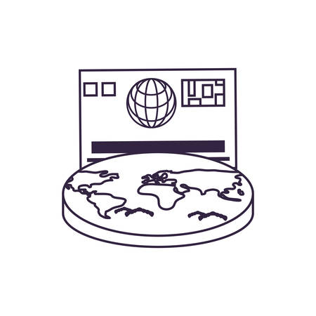world planet earth with credit card vector illustration design