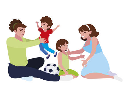 parents cpuple with son and daughter playing soccer vector illustration design Ilustracja