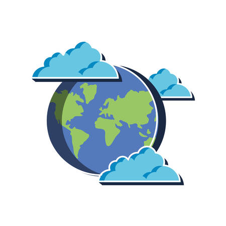 Planet sphere and cloud design, Continent earth world globe ocean and universe theme Vector illustration