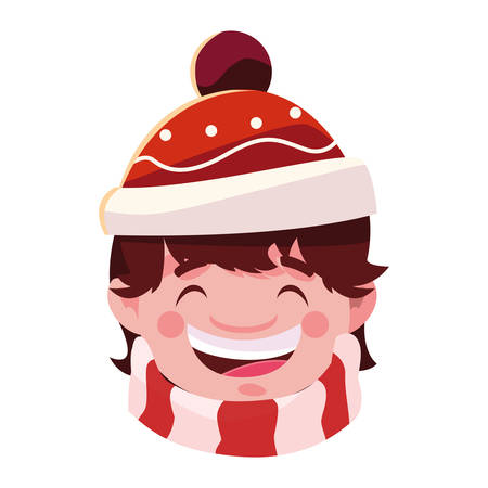 head of boy with hat and scarf illustration design
