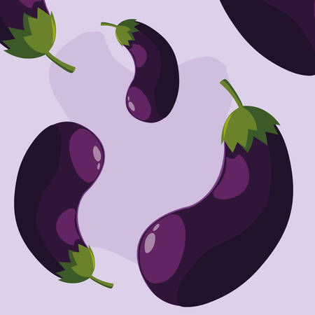 pattern of fresh eggplants vegetables vector illustration design