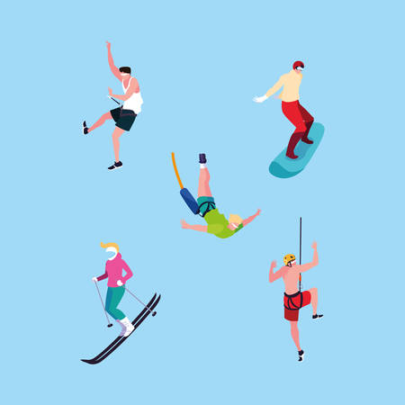 group of people practicing sports extreme vector illustration design Ilustracja