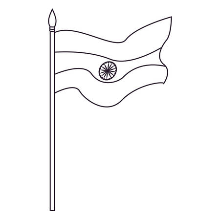 flag in pole symbol indian happy independence day vector illustration Иллюстрация