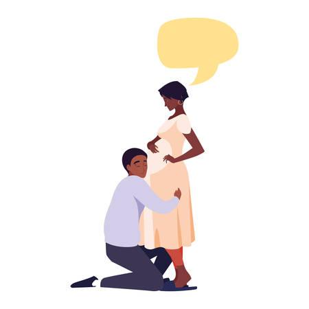 man hugs a pregnant woman talk bubble - pregnancy and maternity vector illustration 写真素材 - 133762044