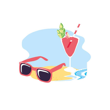 summer sunglasses in the beach with cocktail cup glass vector illustration design