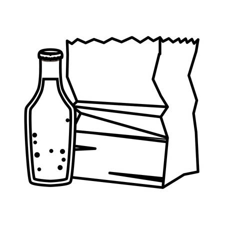paper bag and juice design, Kitchen supply domestic household tool cooking and restaurant theme Vector illustration