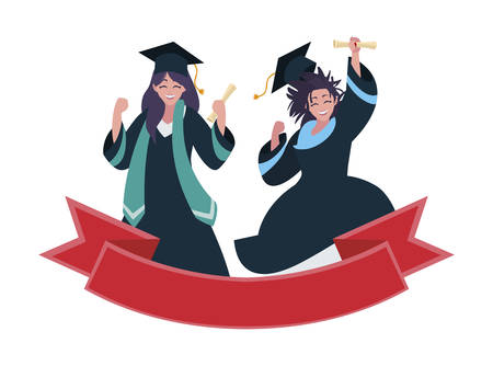 beautiful women students graduated celebrating with ribbon vector illustration
