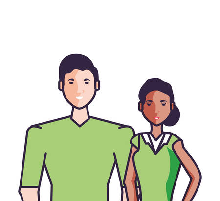 young friends couple avatar character vector illustration design